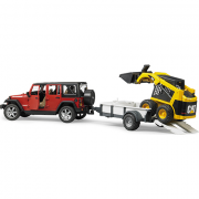 Auto, BRUDER, Jeep Wrangler, Rubicon s přívěsem a nakl.Bobcat, 02925 , autíčko, plastové, hračka