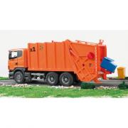 Auto, BRUDER, SCANIA R, popelářské, se zad.nakládáním oranž., hračka, 03560, 00980158, autíčko, plastové