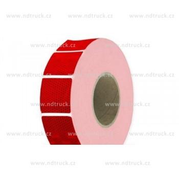 Páska reflexní, červená, přerušovaná, na metry, obrys, čtverečky, samolepící
