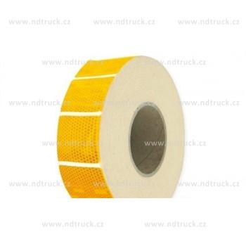 Páska reflexní, žlutá, přerušovaná, na metry, obrys, čtverečky