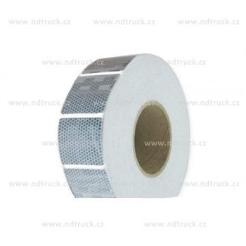 Páska reflexní, bílá, přerušovaná, na metry, obrys, čtverečky, samolepící