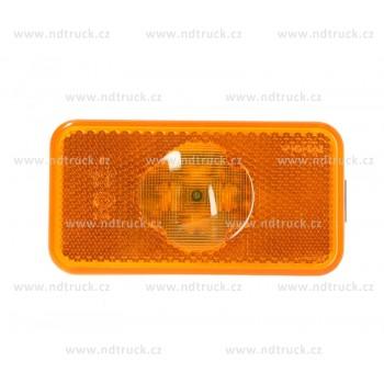Svítilna obrysová, VOLVO, SCANIA, LED, oranžová, 12/24V, bílá záda, svorkovnice, náhrada, spona